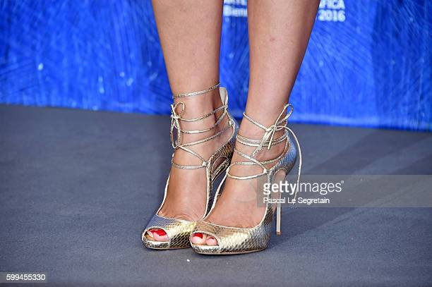 Actress Clara Alonsoshoes detail attends a photocall for 'Piuma' during the 73rd Venice Film Festival at Palazzo del Casino on September 5 2016 in...