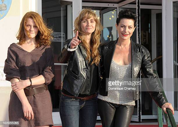 Actress Clara Augarde Director Katell Quillevere and Actress Lio pose during the Cabourg Romantic Film Festival on June 11 2010 in Cabourg France