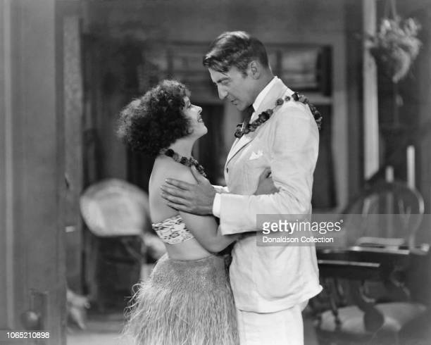 Actress Clara Bow and Clive Brook in a scene from the movie Hula