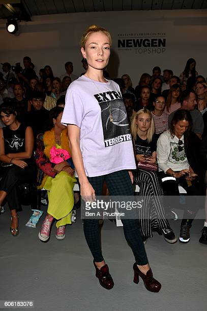 Actress Clara Paget attends the Ashley Williams show during London Fashion Week Spring/Summer collections 2017 on September 16 2016 in London United...