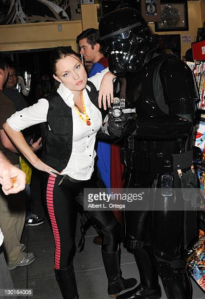 Actress Clare Grant as Han Solo with blackhole stormtrooper particiaptes at a signing and costume conest For Team Unicorn At Golden Apple comic book...