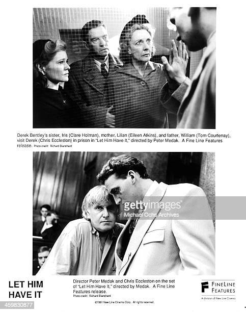 Actress Clare Holman Eileen Atkins and Tom Courtenay on set director Peter Medak and actor Christopher Eccleston on set of the movie Let Him Have It...