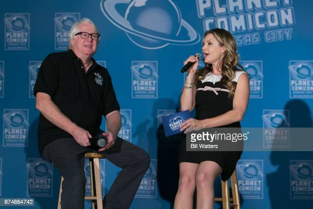 Actress Clare Kramer and Event Producer Chris Jackson speak at the opening ceremonies at Planet Comicon Kansas City at the Kansas City Convention...