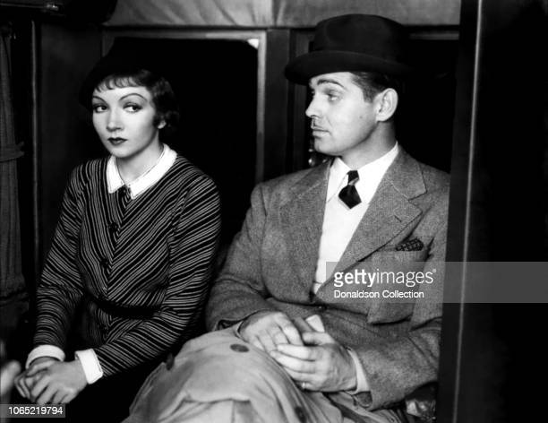 Actress Claudette Colbert and Clark Gable in a scene from the movie It Happened One Night