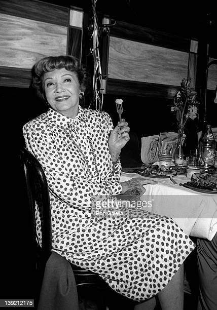 Actress Claudette Colbert attends Literacy Volunteers Tribute to Liz Smith on June 13 1983 at Shubert Alley in New York City