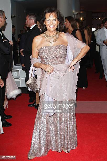 Actress Claudia Cardinale attends the Official Dinner during the 65th Venice Film Festival held at the Piazzale del Casino on August 27, 2008 in...