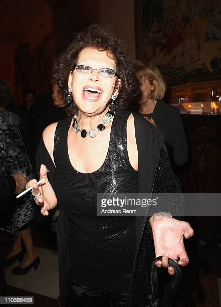Actress Claudia Cardinale attends the reception to the 150th anniversary of Italy unification at the Italian embassy to Germany on March 17 2011 in...