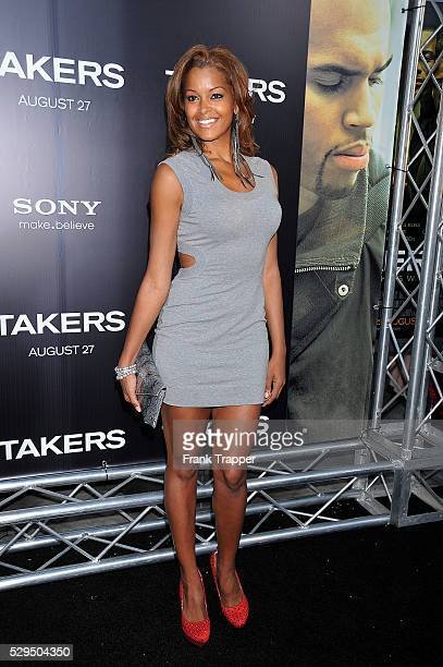 Actress Claudia Jordan arrives at Screen Gems' Takers World Premiere held at the Arclight Cinema Cinerama Dome in Hollywood
