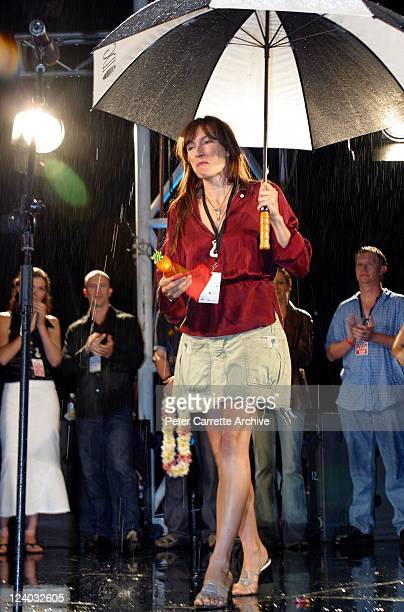 Actress Claudia Karvan on stage to present an award at the Sony Tropfest 2004 short film festival at the Domain Royal Botanic Gardens on February 22...