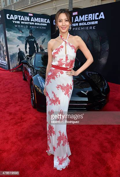 """Actress Claudia Kim attends Marvel's """"Captain America: The Winter Soldier"""" premiere at the El Capitan Theatre on March 13, 2014 in Hollywood,..."""