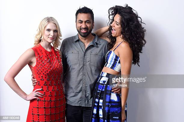 Actress Claudia Lee actor Kal Penn and actress Miranda Rae Mayo from 'Girl In The Photographs' pose for a portrait during the 2015 Toronto...