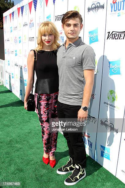 Actress Claudia Lee and actor Garrett Clayton attend Variety's Power of Youth presented by Hasbro Inc and generationOn at Universal Studios Backlot...