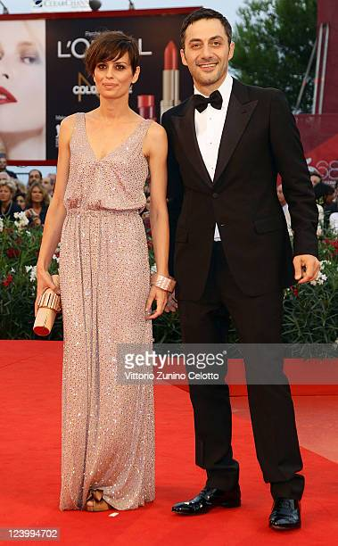 Actress Claudia Pandolfi and actor Filippo Timi attend the 'Quando La Notte' premiere during the 68th Venice Film Festival at Palazzo del Cinema on...