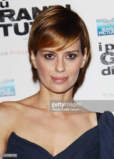 Actress Claudia Pandolfi attends 'I Piu Grandi Di Tutti' premiere at Cinema Odeon on April 2 2012 in Milan Italy
