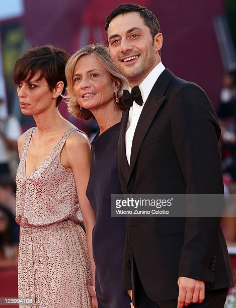 Actress Claudia Pandolfi director Cristina Comencini and actor Filippo Timi attend the 'Quando La Notte' premiere during the 68th Venice Film...