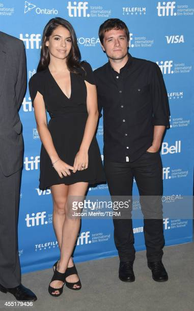 Actress Claudia Traisac and actor Josh Hutcherson pose at Escobar Paradise Lost Press Conference during the 2014 Toronto International Film Festival...