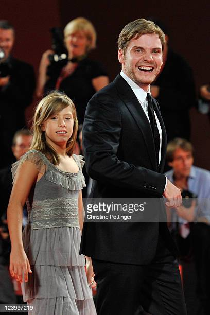 Actress Claudia Vega with actor Daniel Bruhl attend the Eva premiere during the 68th Venice Film Festival at Palazzo del Cinema on September 7 2011...
