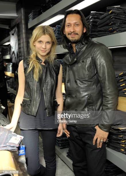 Actress Clemence Poesy and Global Brand Director of GStar Shubhankar Ray attend the GStar Rodeo Drive Store Opening on December 6 2011 in Beverly...
