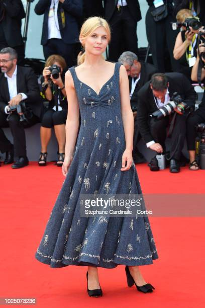 Actress Clemence Poesy walks the red carpet ahead of the opening ceremony and the 'First Man' screening during the 75th Venice Film Festival at Sala...