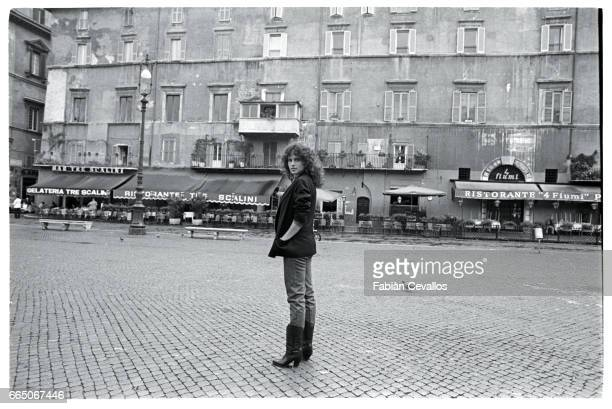 Actress Clio Goldsmith Standing in Piazza