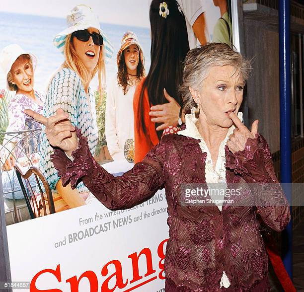 Actress Cloris Leachman pretends to gag as she points to the picture of herself on the movie's poster at the Los Angeles premiere of Columbia...