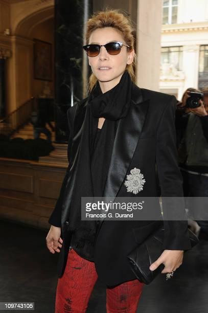 Actress Clotilde Courau arrives at the Balmain Ready to Wear Autumn/Winter 2011/2012 show during Paris Fashion Week at Le Grand Hotel on March 3 2011...