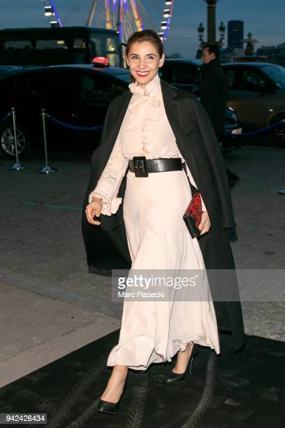 Actress Clotilde Courau arrives to attend the 'Madame Figaro' dinner at Automobile Club de France on April 5 2018 in Paris France