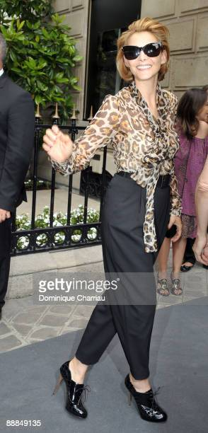 Actress Clotilde Courau attends Christian Dior Paris Fashion Week Haute Couture A/W 2009/10 at the Christian Dior Store on Avenue Montaigne on July 6...