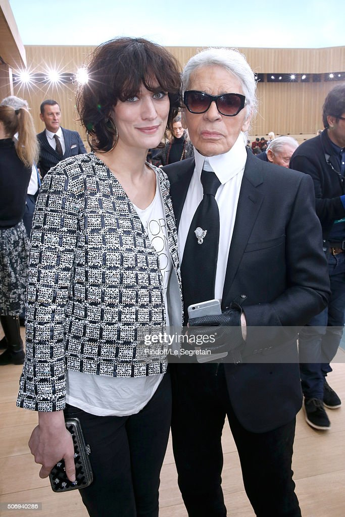 Actress Clotilde Hesme and Stylist Karl Lagerfeld pose after the Chanel Spring Summer 2016 show as part of Paris Fashion Week on January 26, 2016 in Paris, France.