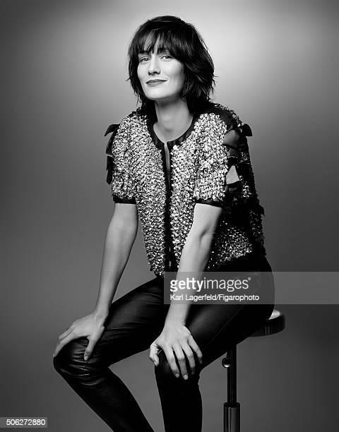 Actress Clotilde Hesme is photographed for Madame Figaro on November 18, 2015 in Paris, France. Jacket , pantalon en cuir, . PUBLISHED IMAGE. CREDIT...
