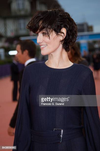 Actress Clotilde Hesme poses on the red carpet before the screening of the movie 'The Zookeepr's Wife' during the 43rd Deauville American Film...