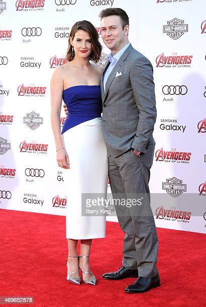 Actress Cobie Smulders and actor Taran Killam arrive at the Premiere Of Marvel's 'Avengers Age Of Ultron' at the Dolby Theatre on April 13 2015 in...