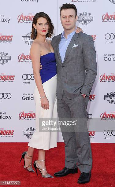 "Actress Cobie Smulders and actor Taran Killam arrives at the Los Angeles Premiere Marvel's ""Avengers Age Of Ultron"" at Dolby Theatre on April 13,..."