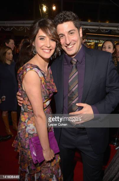 """Actress Cobie Smulders and Actor/Executive Producer Jason Biggs arrive at the """"American Reunion"""" Los Angeles Premiere March 19, 2012 in Hollywood,..."""