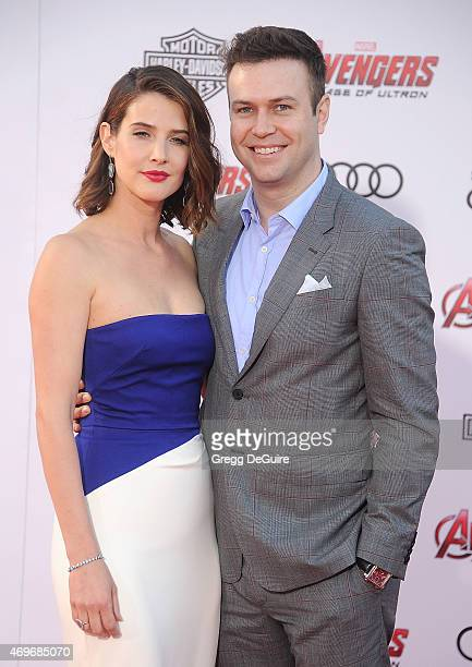 Actress Cobie Smulders and Taran Killam arrive at the Los Angeles premiere of Marvel's 'Avengers Age Of Ultron' at Dolby Theatre on April 13 2015 in...