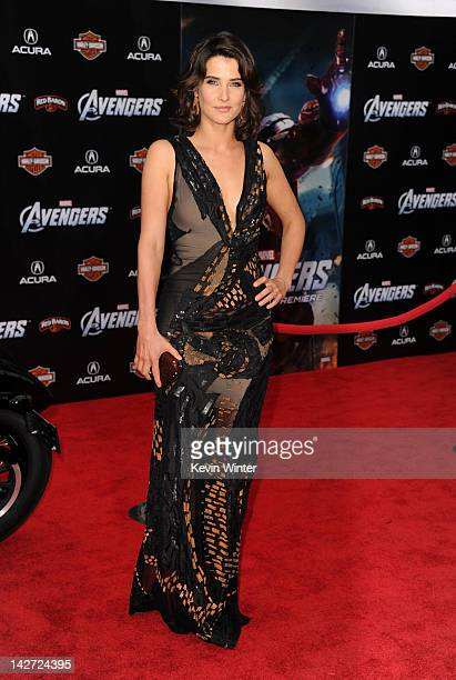 """Actress Cobie Smulders arrives at the premiere of Marvel Studios' """"The Avengers"""" at the El Capitan Theatre on April 11, 2012 in Hollywood, California."""