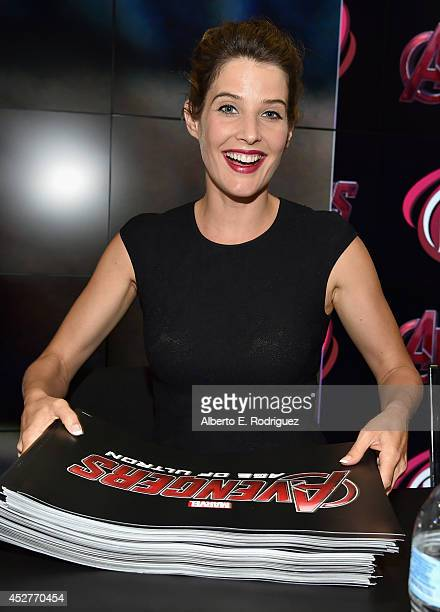 Actress Cobie Smulders attends Marvel's 'Avengers Age Of Ultron' Hall H Panel Booth Signing during ComicCon International 2014 at San Diego...