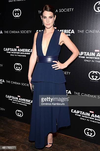 Actress Cobie Smulders attends The Cinema Society Gucci Guilty screening of Marvel's 'Captain America The Winter Soldier' at Tribeca Grand Hotel on...