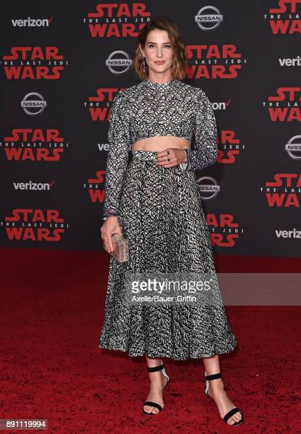 Actress Cobie Smulders attends the Los Angeles premiere of 'Star Wars The Last Jedi' at The Shrine Auditorium on December 9 2017 in Los Angeles...