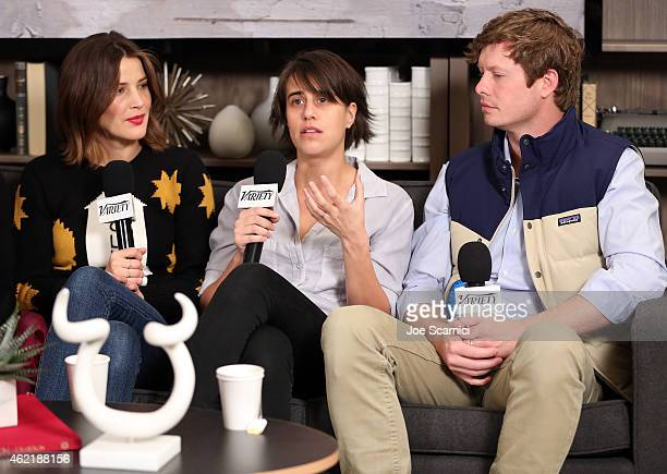 Actress Cobie Smulders director Kris Swanberg and actor Anders Holm speak at The Variety Studio At Sundance Presented By Dockers on January 25 2015...