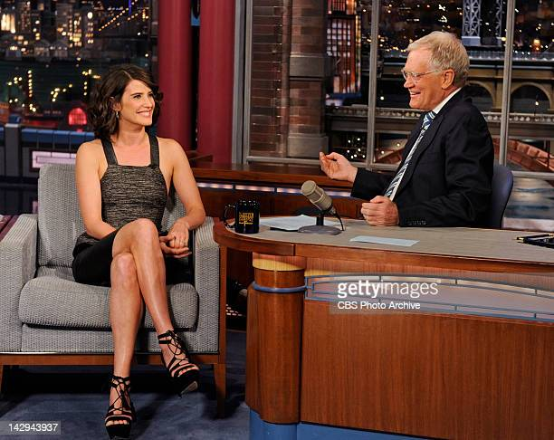 Actress Cobie Smulders from the CBS comedy series 'How I Met Your Mother' talks about her new film 'The Avengers' on the Late Show with David...