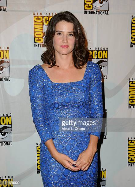 "Actress Cobie Smulders poses backstage at Marvel Studios ""Thor: The Dark World"" and ""Captain America: The Winter Soldier"" during Comic-Con..."