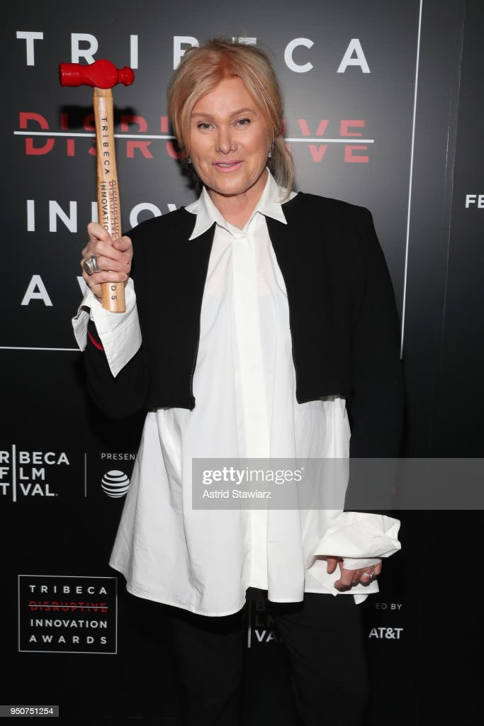 Actress, Co-founder, Hopeland, Deborra-Lee Furness poses in an award room at Tribeca Disruptive Innovation Awards - 2018 Tribeca Film Festival at Spring Studios on April 24, 2018 in New York City.