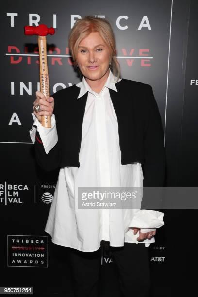 Actress Cofounder Hopeland DeborraLee Furness poses in an award room at Tribeca Disruptive Innovation Awards 2018 Tribeca Film Festival at Spring...