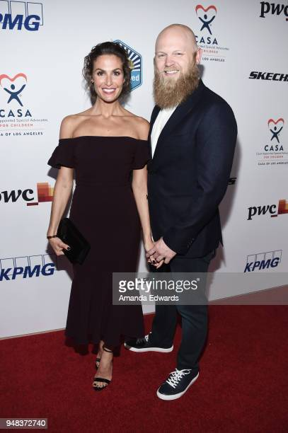 Actress Cole Crawford and Justin Bursch arrive at the CASA of Los Angeles' 2018 Evening to Foster Dreams Gala at The Beverly Hilton Hotel on April 18...