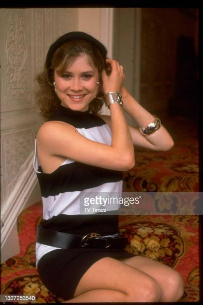 Actress Colette Barker in character as Tracey Hobbs in television soap Crossroads, circa 1986.