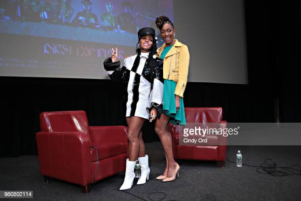"""Actress/ comedian Franchesca Ramsey moderates a Q & A with recording artist/ actress Janelle Monae during the """"Dirty Computer"""" screening at The Film..."""