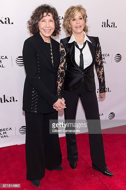 Actress comedian writer singer and producer Lily Tomlin and actress writer political activist former fashion model and fitness guru Jane Fonda attend...