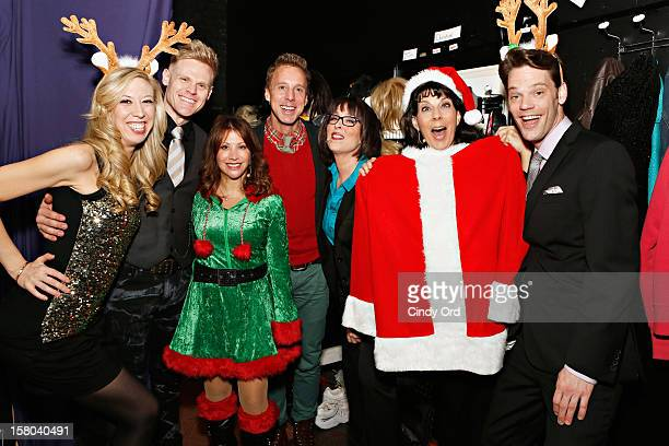 Actress/ comedienne Cheri Oteri poses backstage with the cast Emily McNamara Tommy Walker Michael West Susan Mosher Christine Pedi and Ryan Knowles...