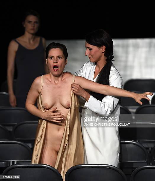 Actress Conchita Paz and Laure Giappiconi perform during a rehearsal of the play 'Soudain la nuit' written by Olivier Saccomano and directed by...